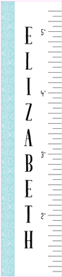 "Removable Wall Decal | 12"" x 54"" Sea Shore1 Growth Chart"